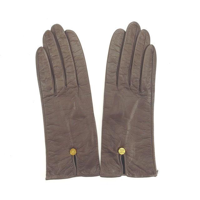 【中古】 【送料無料】 シャネル 手袋 グローブ レディース ココボタン ブラウン×ゴールド Chanel Y4359 .