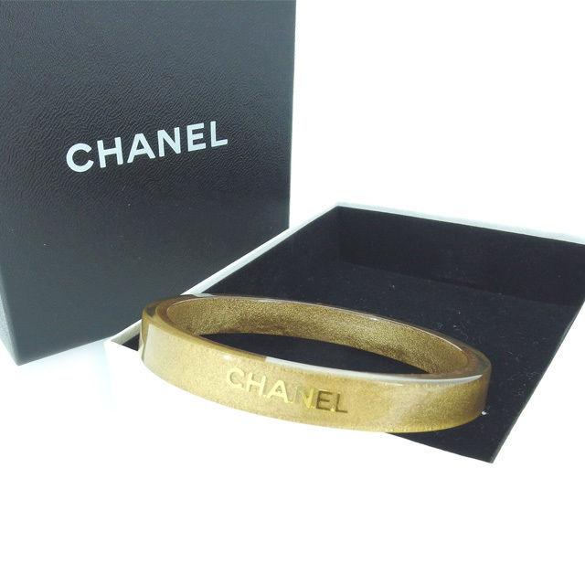 【中古】 【送料無料】 シャネル バングル アクセサリー ロゴ ゴールド×クリア Chanel Y4369 .