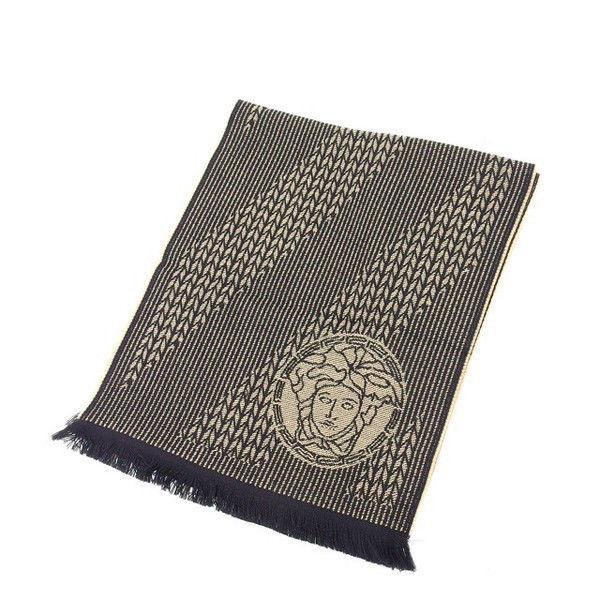 【中古】 【送料無料】 ヴェルサーチ マフラー レディース ブラック×ベージュ Versace Y4585 .