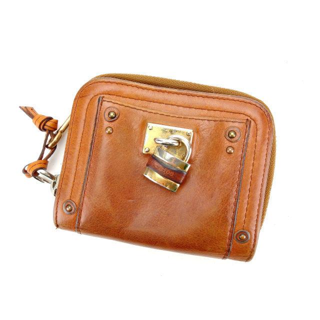 【中古】 【送料無料】 クロエ Chloe ラウンドZIP二つ折り財布 メンズ可 パディントン ブラウン レザー (あす楽対応)人気 Y4657