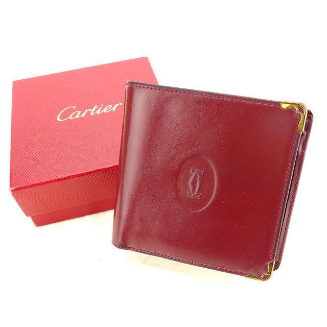 【中古】 【送料無料】 カルティエ 二つ折り財布 レディース マストライン ボルドー×ゴールド Cartier Y4723 .