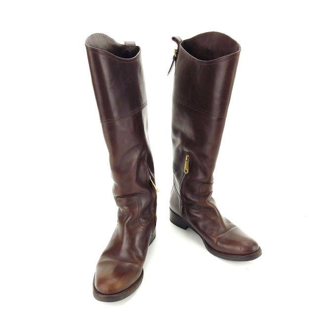 【中古】 【送料無料】 バリー BALLY ブーツ シューズ 靴 レディース ♯35ハーフ ラウンドトゥ ロング ブラウン×ゴールド レザー (あす楽対応)人気 Y4764 .