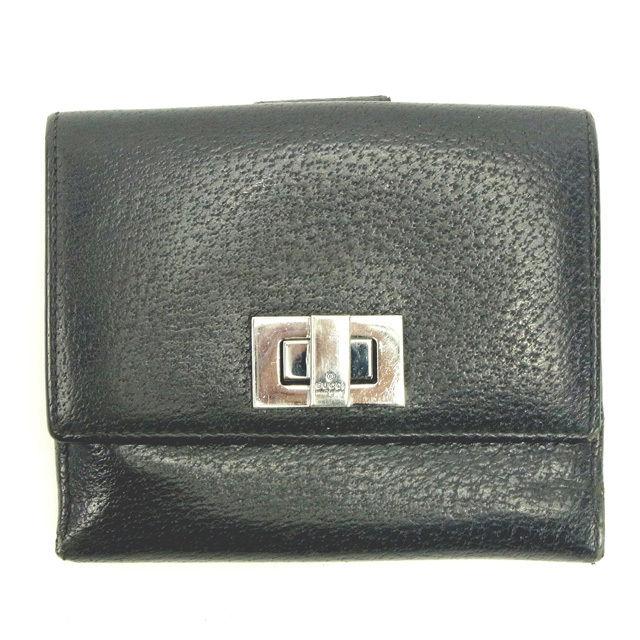 【中古】 【送料無料】 グッチ GUCCI Wホック財布 二つ折り財布 男女兼用 ブラック レザー (あす楽対応)人気 Y4905