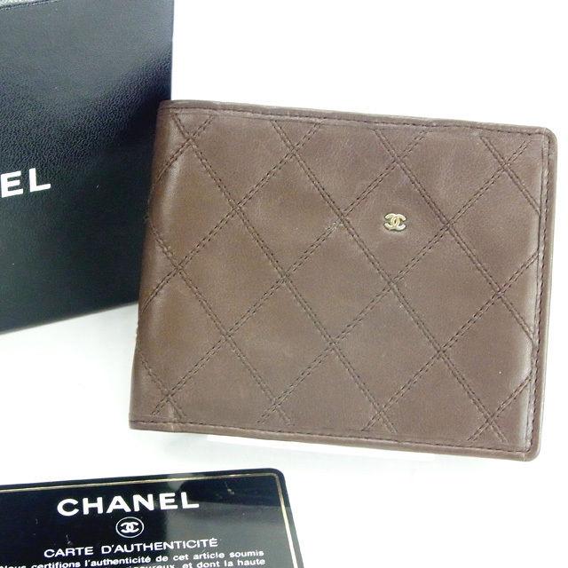 【中古】 【送料無料】 シャネル 二つ折り財布 レディース ワイルドステッチ ブラウン Chanel Y4909 .