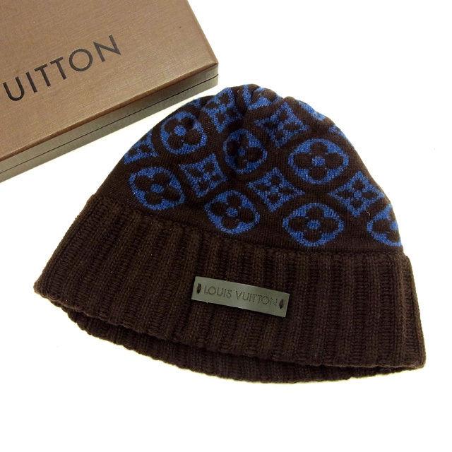 【中古】 【送料無料】 ルイヴィトン Louis Vuitton ニット帽 レディース ボネ モノグラム ブラウン×ブルー 美品 Y5130 .