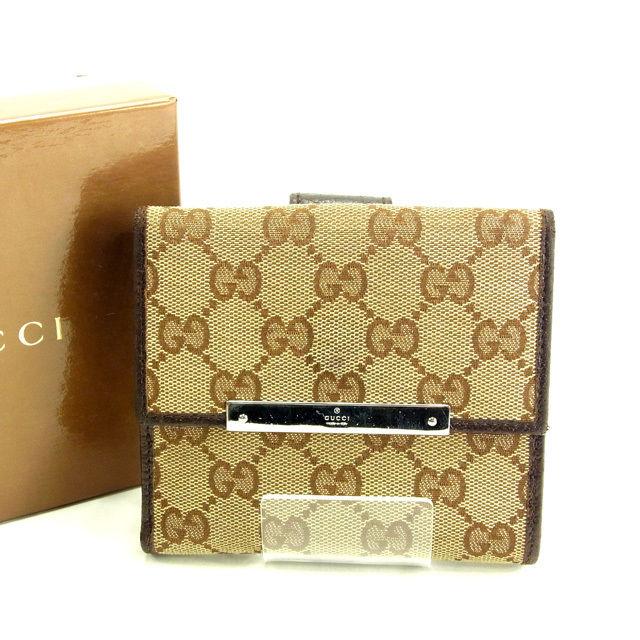 【中古】 【送料無料】 グッチ Wホック財布 レディース GGキャンバス ブラウン×ベージュ Gucci Y5165 .