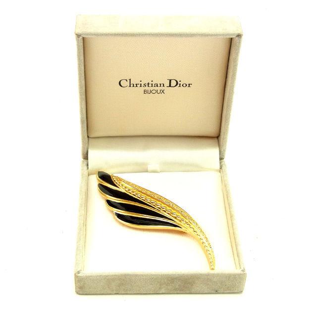 【中古】 【送料無料】 クリスチャン ディオール Christian Dior ブローチ アクセサリー レディース ラインストーン ブラック×ゴールド 良品 Y5182