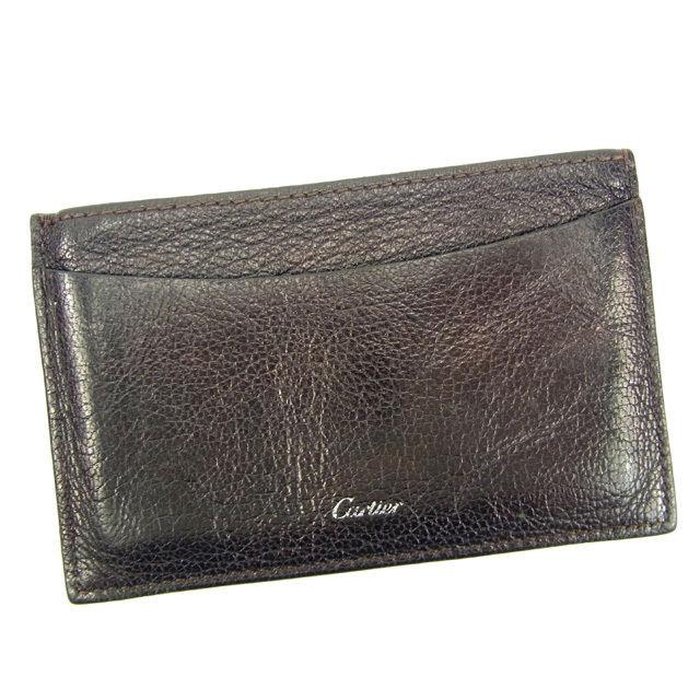 【中古】 【送料無料】 カルティエ 名刺入れ カードケース ブラック レザー Cartier Y5225 .
