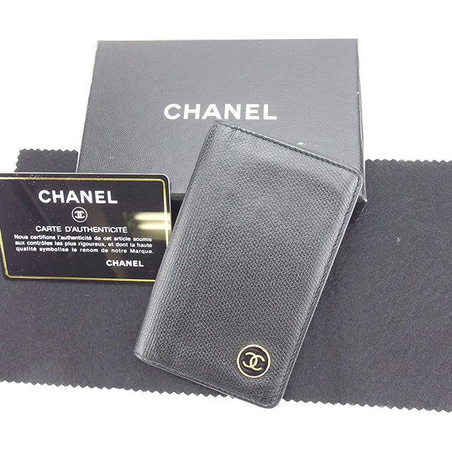 【中古】 【送料無料】 シャネル カードケース 名刺入れ ココボタン ブラック×ゴールド レザー Chanel Y5317 .