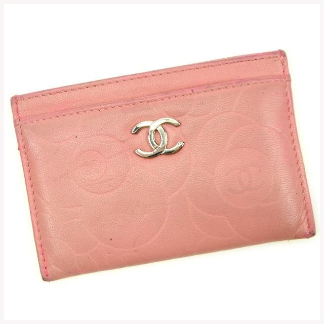 【中古】 【送料無料】 シャネル カードケース レディース カメリア ピンク レザー Chanel Y5588 .