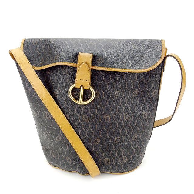 【中古】 【送料無料】 ディオール Dior ショルダーバッグ ロゴ柄 ブラック×ベージュ×ゴールド PVC×レザー 人気 Y5718