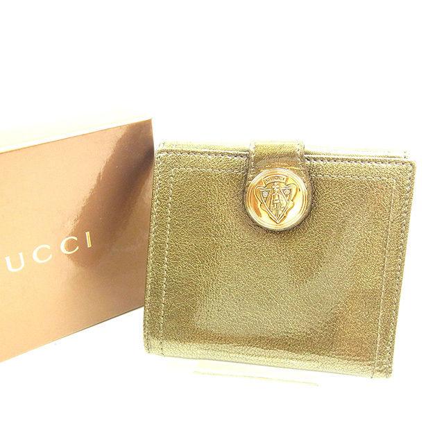 【中古】 【送料無料】 グッチ Wホック財布 メンズ可 その他 ゴールド エナメルレザー Gucci Y5742 .
