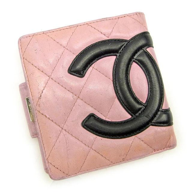 【中古】 【送料無料】 シャネル がま口財布 二つ折り財布 レディース カンボンライン ピンク×ブラック レザー Chanel Y5984 .