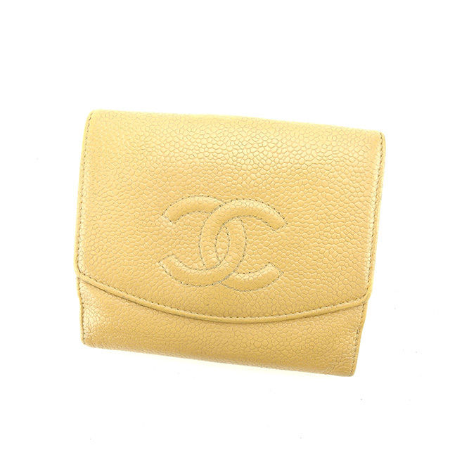 【中古】 【送料無料】 シャネル Wホック財布 二つ折り財布 ココマーク ベージュ キャビアスキン Chanel Y6288 .