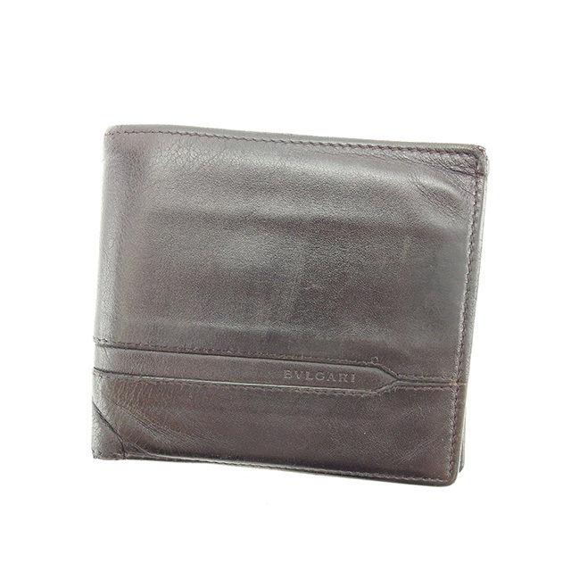 f8833f4535e3 【中古】 【送料無料】 ブルガリ BVLGARI 二つ折り財布 メンズ オクト ダークブラウン 超 人気 Y6323s . レザー-メンズ財布