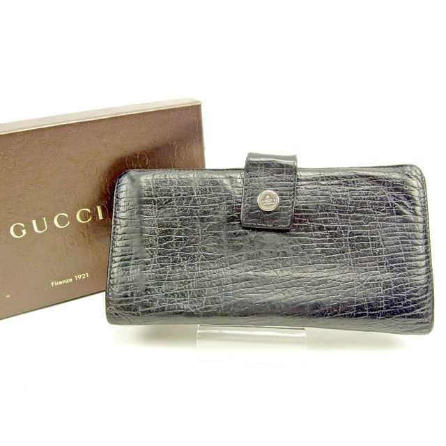 【中古】 【送料無料】 グッチ 長財布 Wホック レディース メンズ 可 ブラック レザー Gucci Y6651 .
