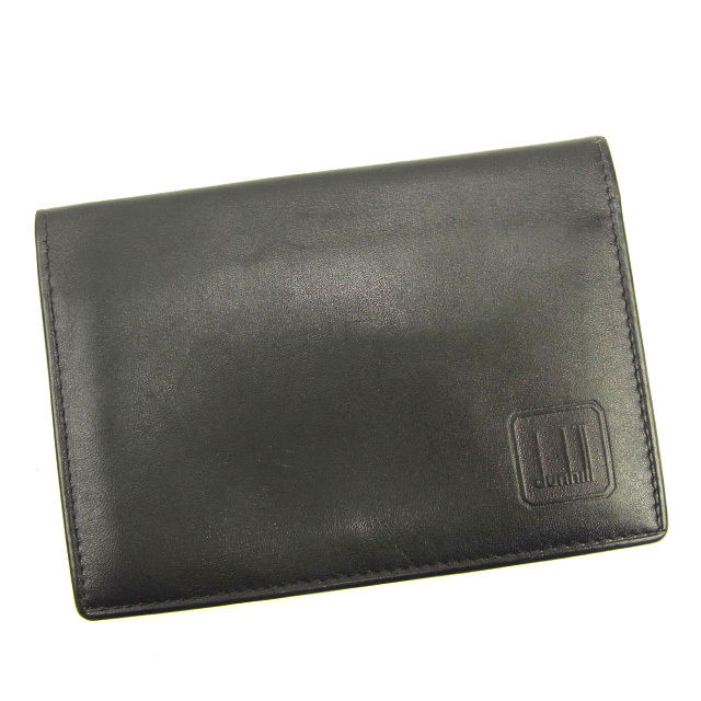 【中古】 【送料無料】 ダンヒル dunhill カードケース 名刺入れ メンズ ロゴ ブラック レザー 良品 Y6847 .
