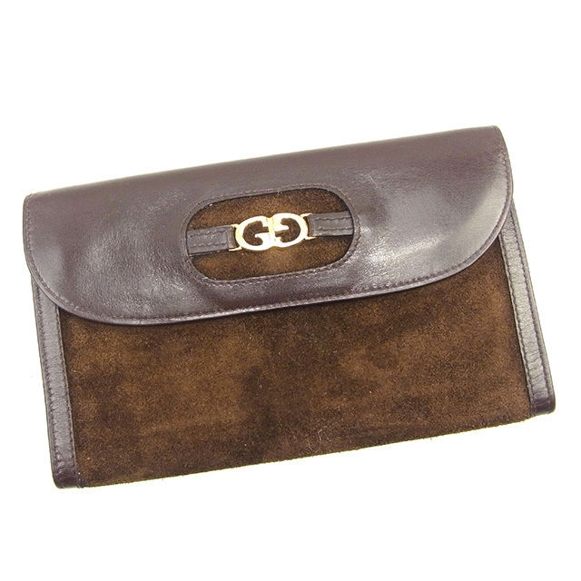 f59836c6049 Three Gucci GUCCI long wallets fold fastener men s possible old Gucci  double G brown X gold suede X leather vintage popularity Y7045