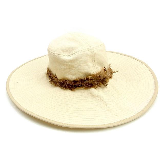 【中古】 【送料無料】 グッチ 帽子 つば広帽子 ハット レディース フェザー付き ベージュ×ブラウン コットン100%(裏地)コットン100%フェザー使用 Gucci Y7375 .