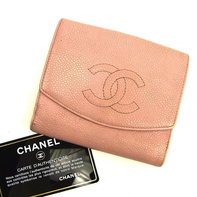 【中古】 【送料無料】 シャネル Wホック財布 レディース キャビアスキン×ココマーク ピンク レザ- Chanel Y7494 .