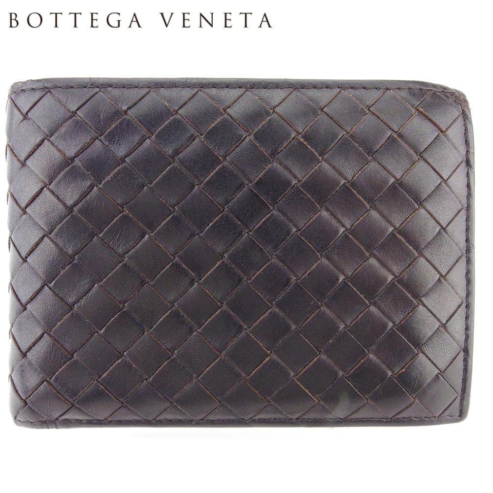 【中古】 ボッテガ ヴェネタ 二つ折り 財布 ミニ財布 レディース メンズ イントレチャート ブラウン レザー BOTTEGA VENETA Q598