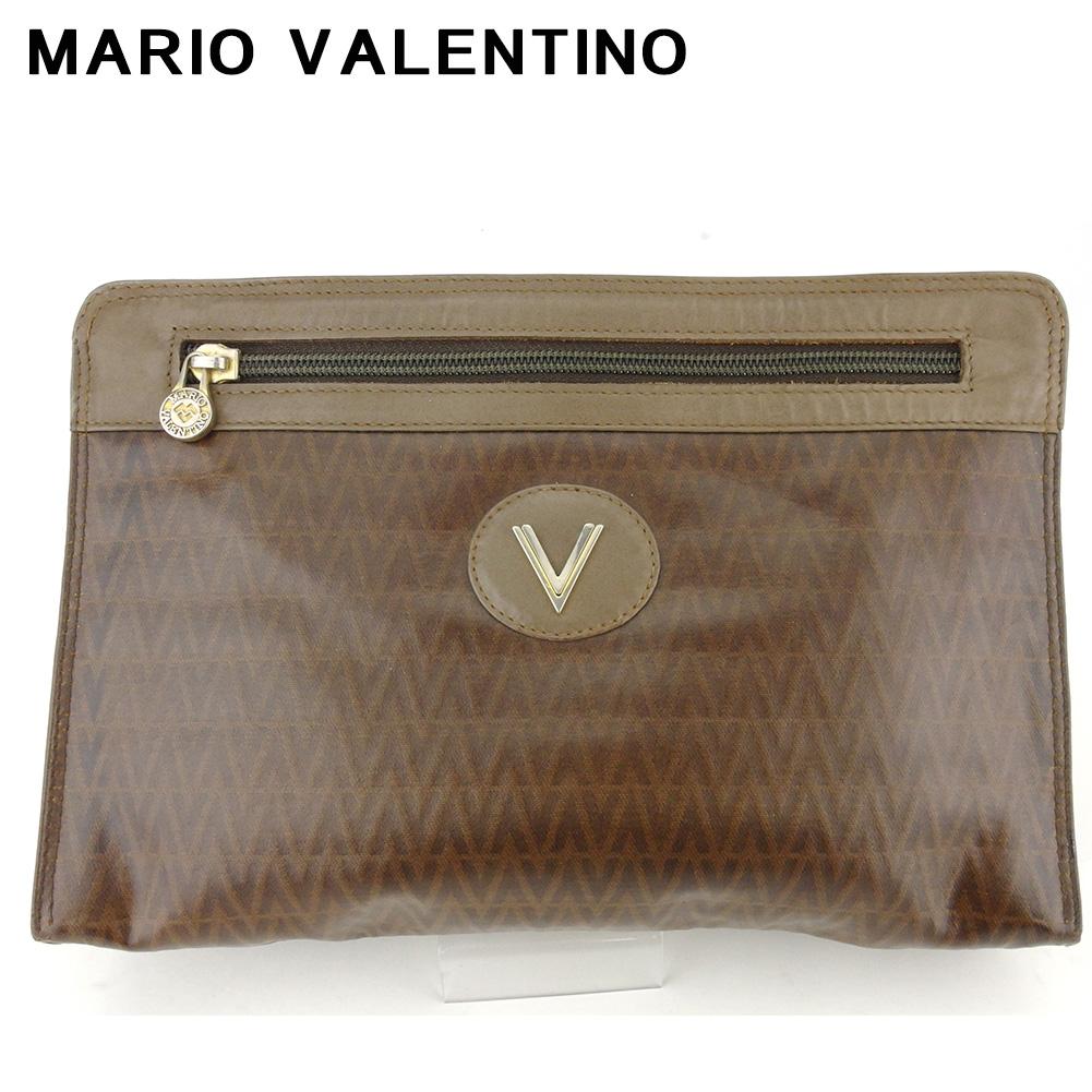 【中古】 マリオ ヴァレンティノ クラッチバッグ セカンドバッグ レディース メンズ Vマーク ブラウン シルバー ゴールド PVC×レザー MARIO VALENTINO Q606