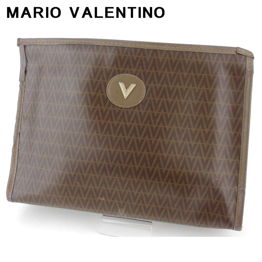 【中古】 マリオ ヴァレンティノ クラッチバッグ セカンドバッグ レディース メンズ Vマーク ブラウン ベージュ ゴールド PVC×レザー MARIO VALENTINO Q607