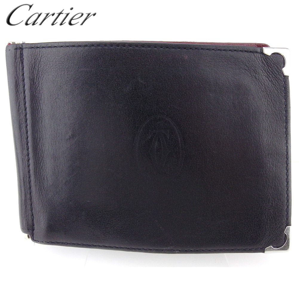 【中古】 カルティエ 二つ折り 札入れ ミニ札入れ メンズ カボション ブラック ボルドー シルバー レザー Cartier T18350