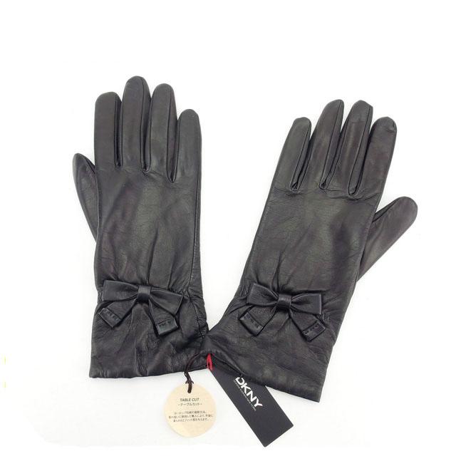 【中古】 【送料無料】 ダナキャランニューヨーク 手袋 グローブ レディース リボン ブラック DKNY Y4967 .