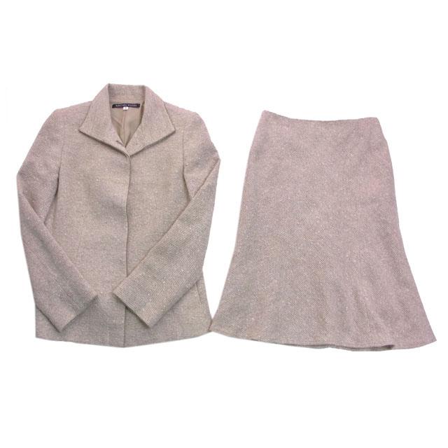 【中古】 【送料無料】 ミッシェルクラン MICHEL KLEIN スーツ マーメイドシルエット レディース ♯40サイズ シングルジャケット×スカート ツィード ベージュ系 W 85%NY 10%RY 5%(裏地)CP (あす楽対応)良品 人気 B700 .