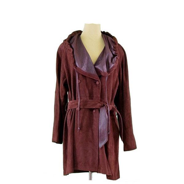 【中古】 マリクレール marie claire コート ダブル ロング レディース ♯9サイズ フード付き レッドブラウン H235