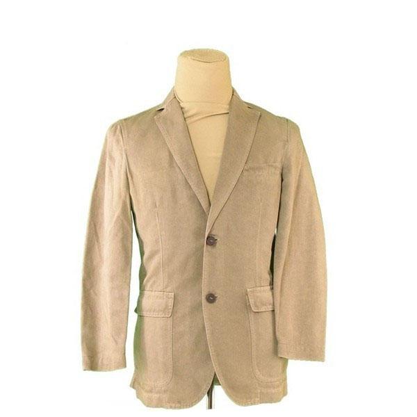 【中古】 ゼニア ジャケット 二つボタン ♯46サイズ テーラード カーキ×ブラウン 綿55%麻45%(裏一部)キュプラ100%Zegna レディース プレゼント 贈り物 1点物 人気 良品 秋 オシャレ 大人 在庫処分 ファッション L2407