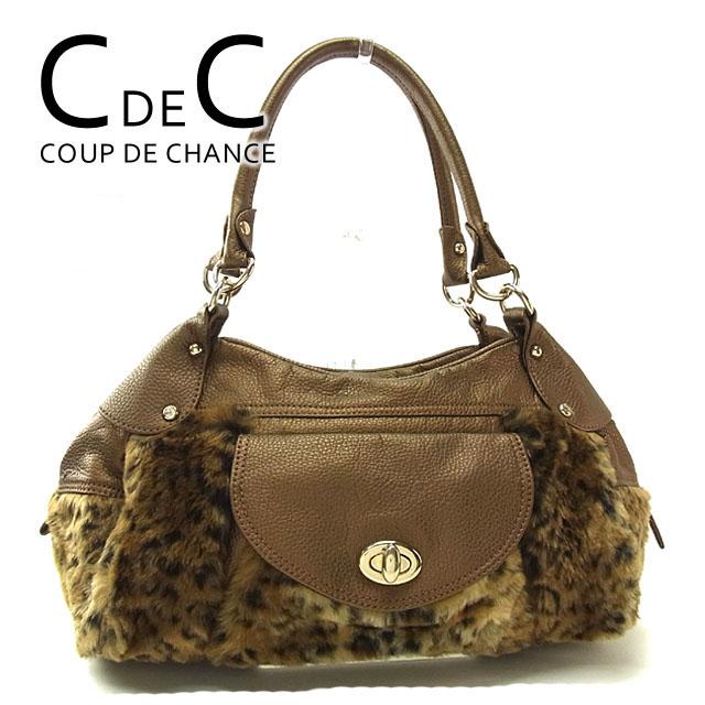 3d50812c67ce52 クードシャンス COUP DE CHANCE shoulder bag mini-Boston bag Lady's animal fur beige  X ...