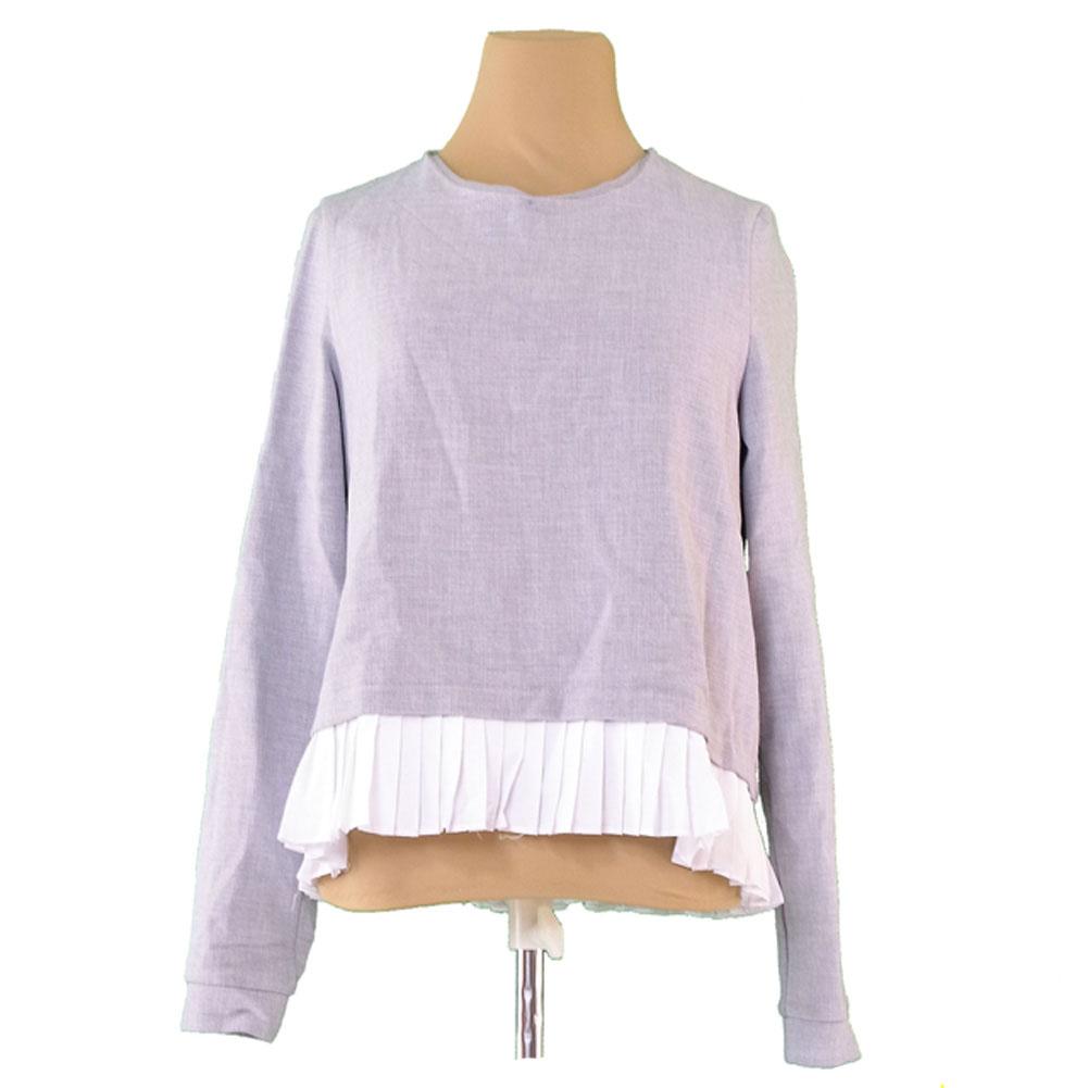 490096189b It is ribbon blouse Lady s ♯ USA medium size hem pleats gray X white beauty  product T10919 after quite common thoraFalk ZARA TRAFALUC cut-and-sew.