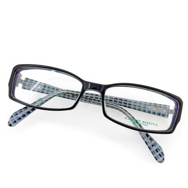 【中古】 アルフレッド ベレッタ メガネ フレーム 眼鏡 テンプル内側チェック柄 スクエア型 クリア×ブラック×シルバー系 プラスチック×シルバー金具AB8022ALFREDO BERETTA レディース プレゼント 贈り物 1点物 【送料無料】 T1871