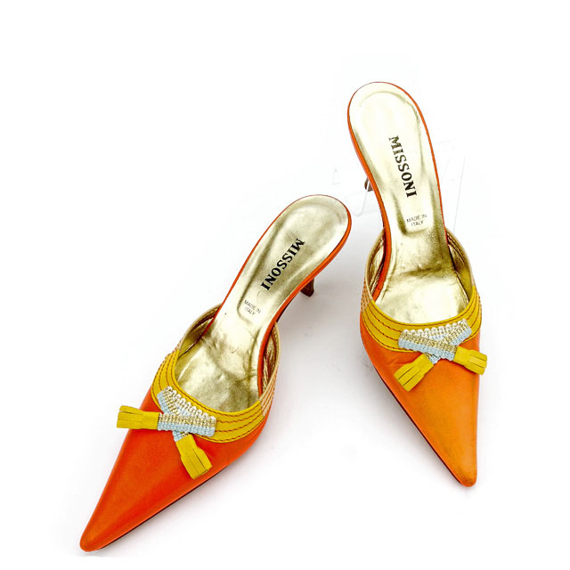 5837ce28 Pointed toe orange X yellow X gold system leather popularity sale T2606  with Missoni MISSONI mule ...