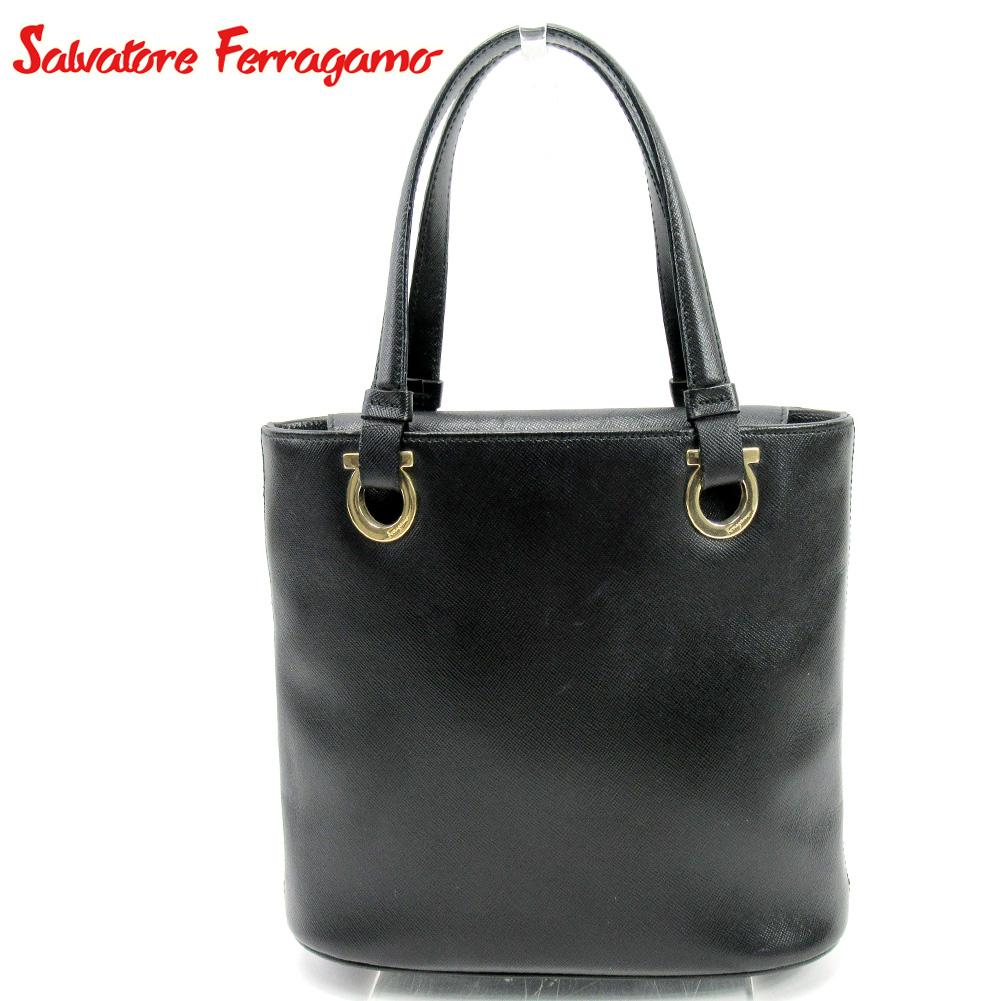 キャンペーンもお見逃しなく ハンドバッグ バッグ サルヴァトーレ フェラガモ 人気 夏 プレゼント 中古 Salvatore レザー Ferragamo T10182 ガンチーニ セールSALE%OFF . ブラック