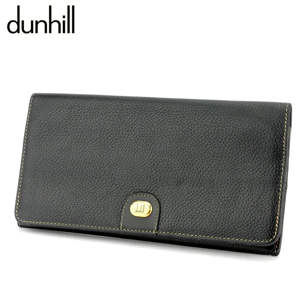【中古】 ダンヒル 長財布 ファスナー付キ 財布 メンズ ロゴプレート ブラック ゴールド レザー dunhill G1436
