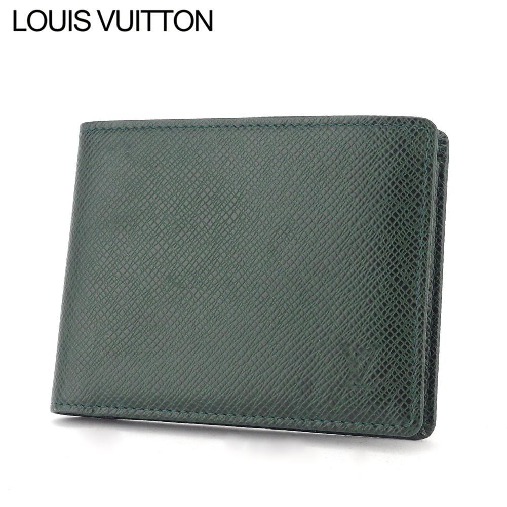 【中古】 ルイ ヴィトン 二つ折り 札入れ メンズ ポルトビエ6カルトクレディ タイガ グリーン タイガレザー Louis Vuitton T10536