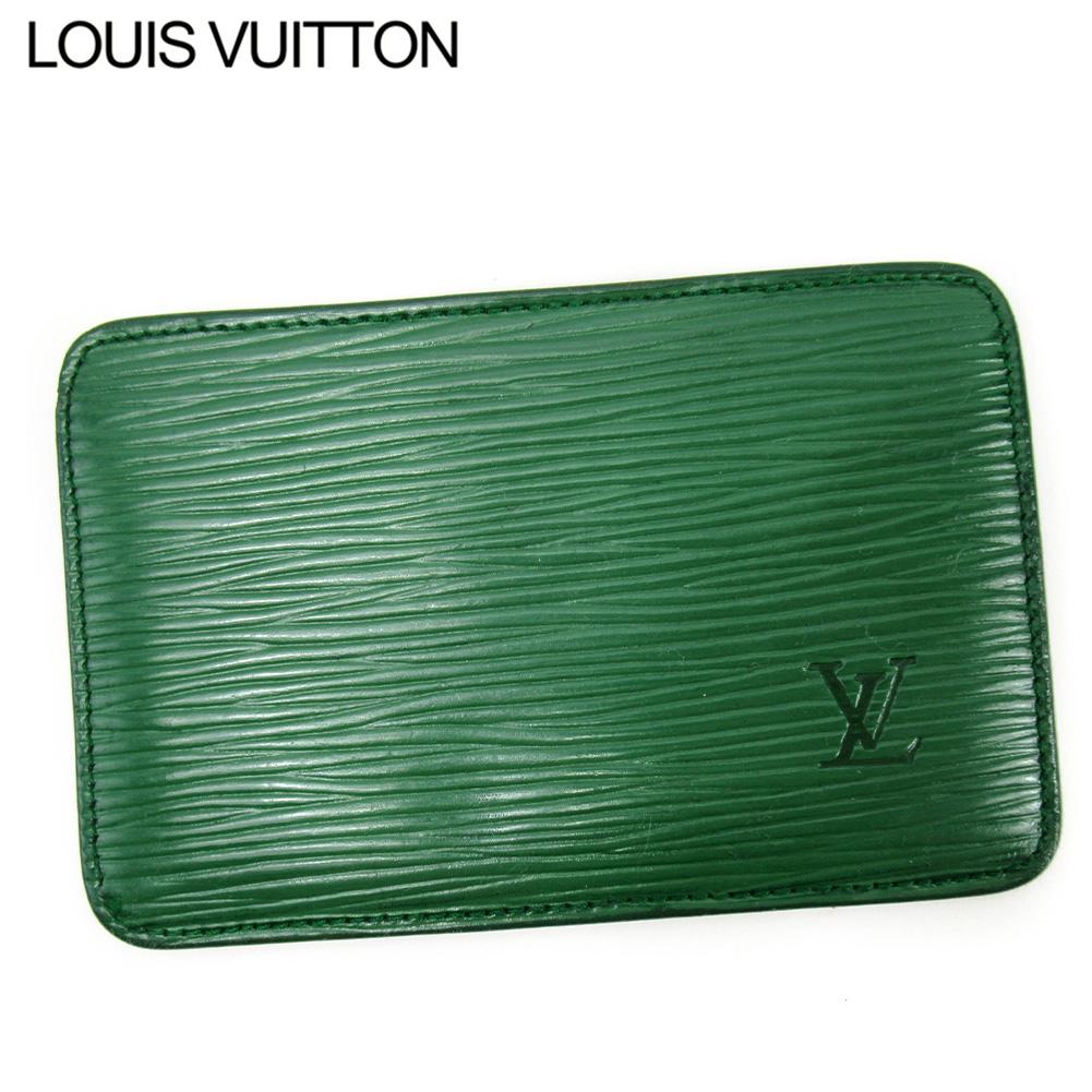 【中古】 ルイ ヴィトン カードケース パスケース レディース メンズ エピ グリーン レザー Louis Vuitton T16708