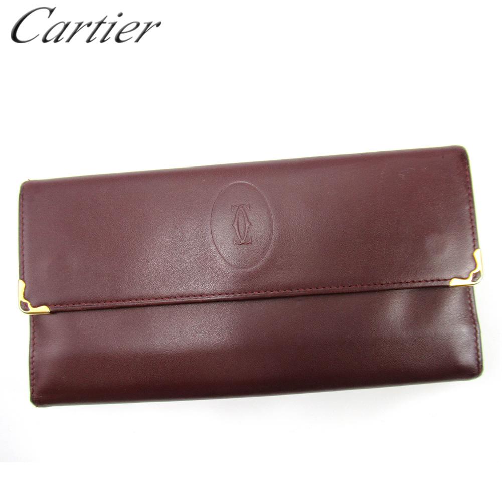 【中古】 カルティエ がま口 財布 長財布 レディース メンズ マストライン ボルドー レザー Cartier T16736
