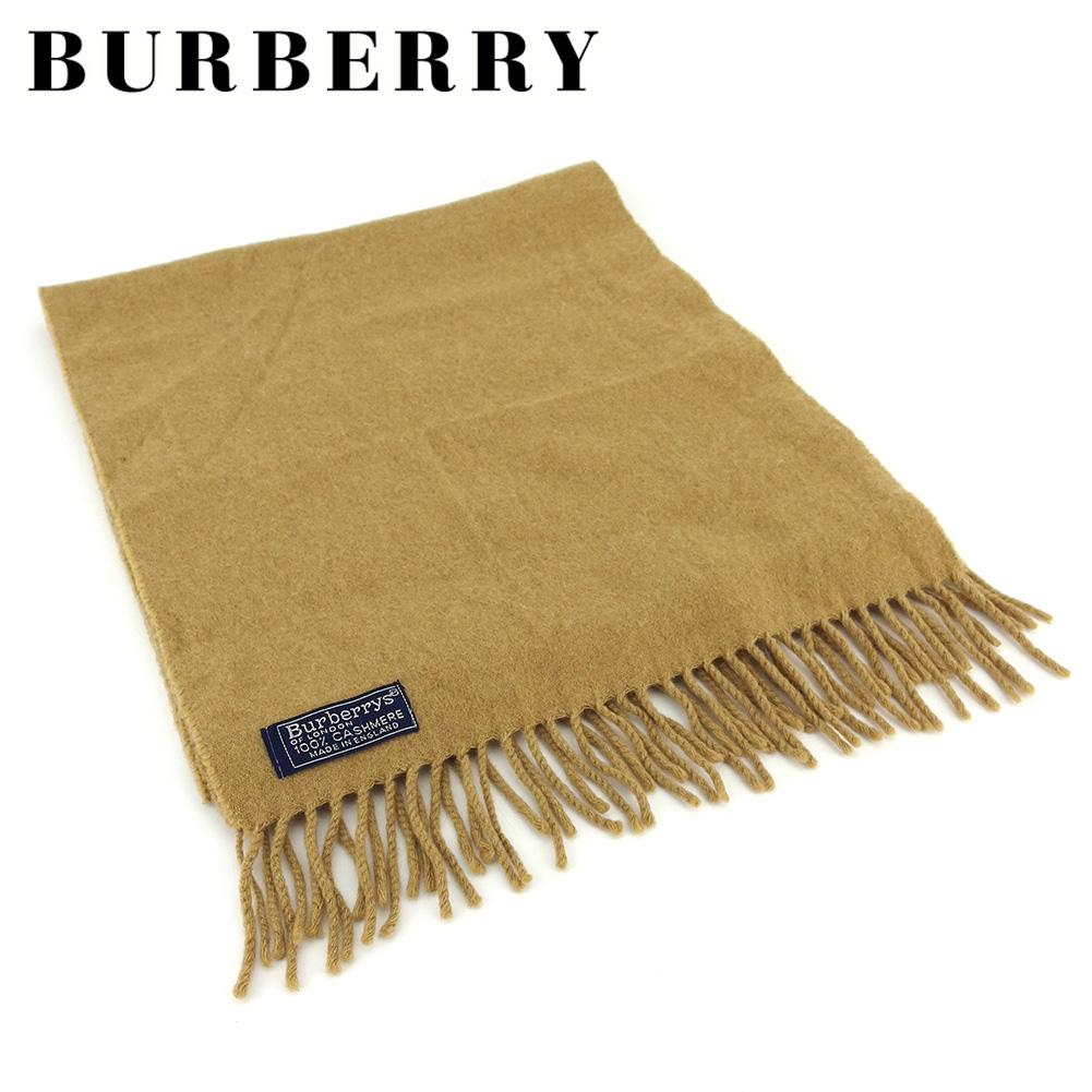 【中古】 バーバリー マフラー フリンジ付き Burberrys 無地 ベージュ カシミア BURBERRY T16813