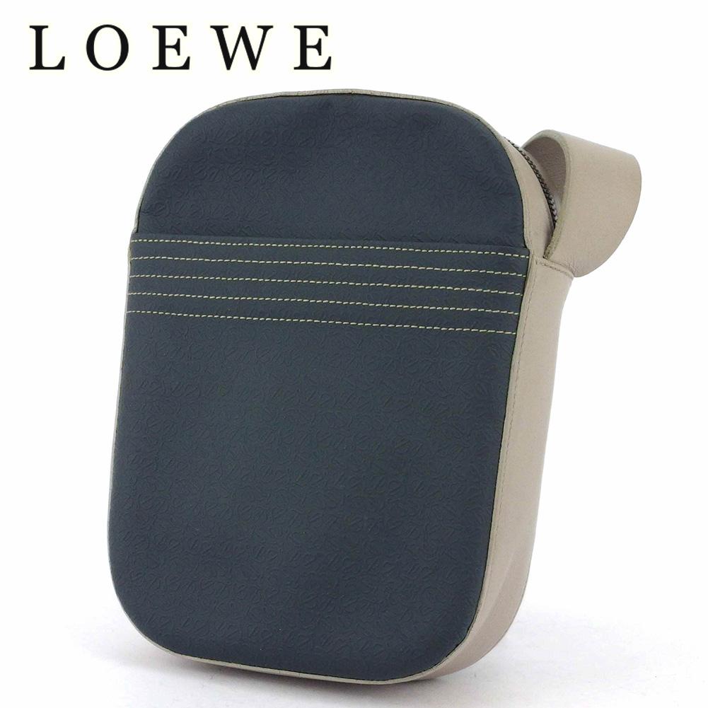 【中古】 ロエベ ショルダーバッグ 斜めがけショルダー バッグ レディース メンズ アナグラム柄 ネイビー グレー 灰色 シルバー PVC×レザー LOEWE T16846