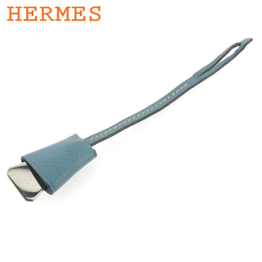 【中古】 エルメス ミニクロシェット バッグチャーム レディース ブルー レザー×シルバー素材 HERMES T16886