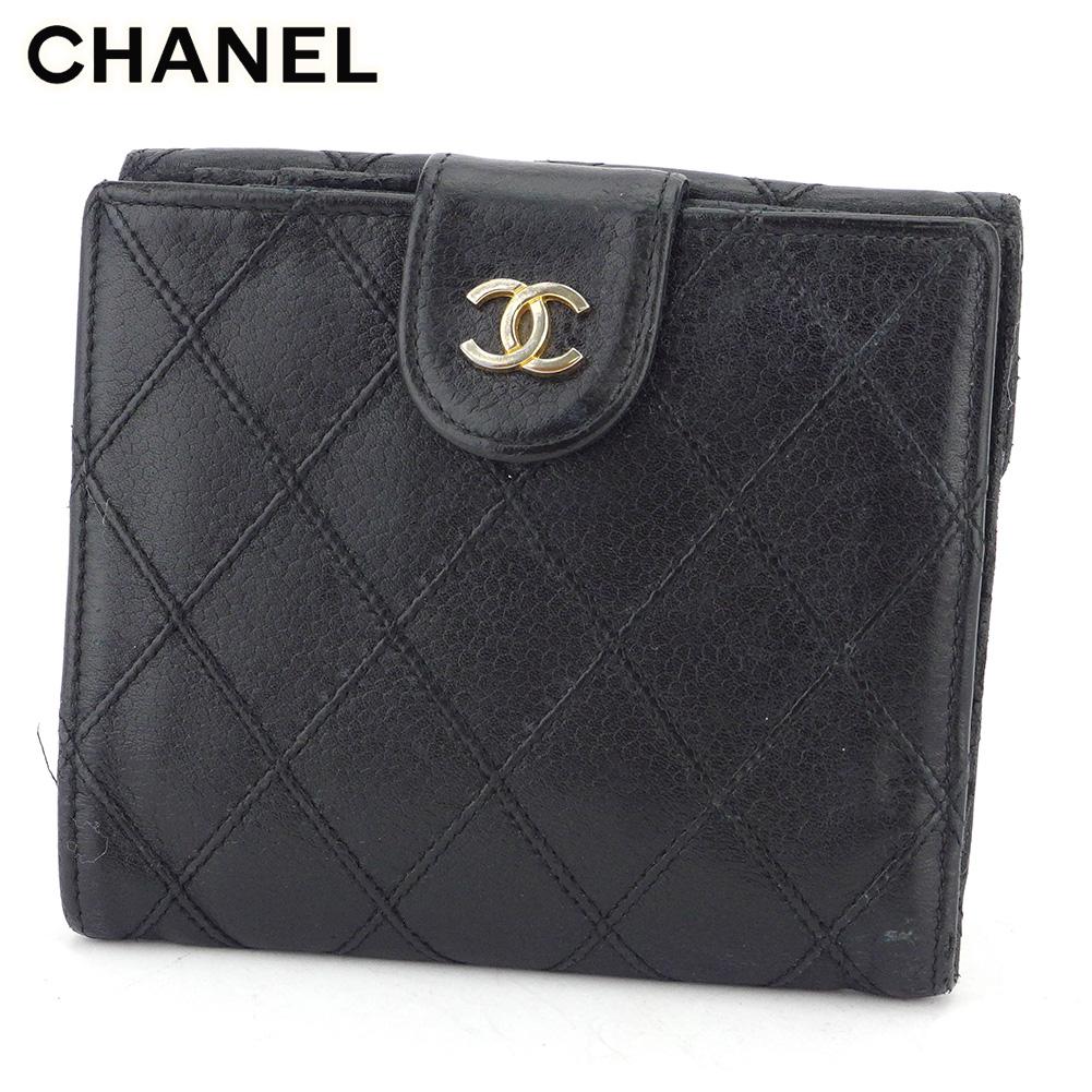【中古】 シャネル Wホック 財布 二つ折り 財布 レディース メンズ ビコローレ ブラック レザー CHANEL T16892