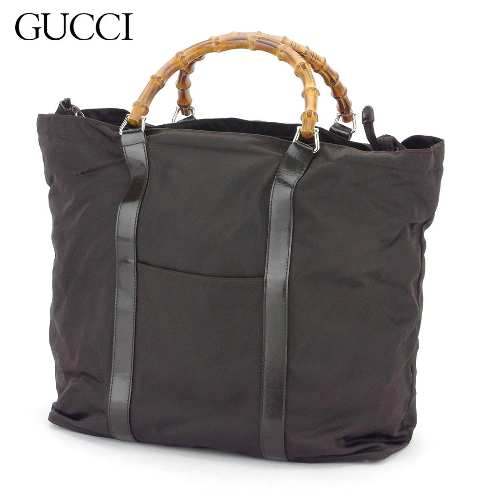 グッチ 人気 【中古】 グッチ トートバッグ ハンドバッグ レディース メンズ バンブー ブラウン ナイロン Gucci T16898