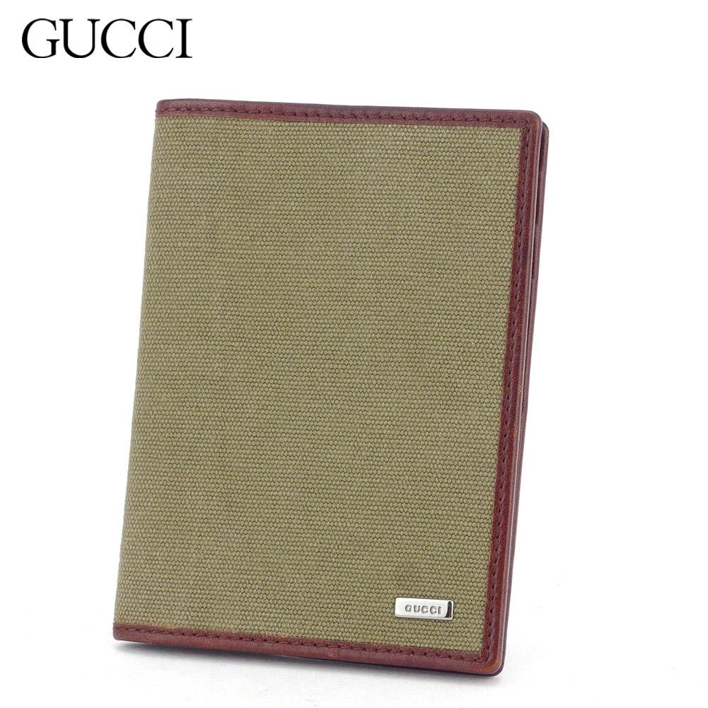 【中古】 グッチ カードケース カード 名刺入れ レディース メンズ ベージュ ブラウン キャンバス×レザー Gucci T16921