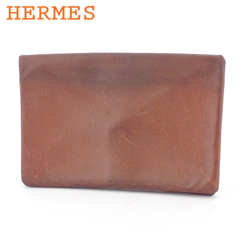 【中古】 エルメス カードケース 名刺入れ レディース メンズ ブラウン レザー HERMES T16924