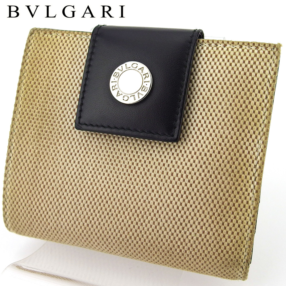 【中古】 ブルガリ 二つ折り 財布 ミニ財布 レディース メンズ ロゴボタン ベージュ ブラック シルバー キャンバス×レザー BVLGARI D2149