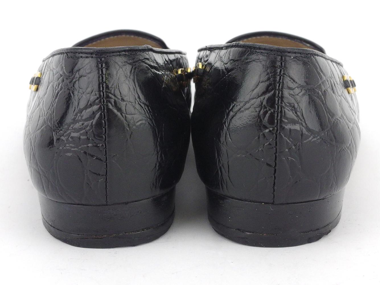 サルヴァトーレ フェラガモ ローファー シューズ 靴 レディース ♯5C パンプス ガンチーニ クロコ調 ブラック ゴールド 型押しレザー Salvatore Ferragamo D2175D29eHbEIYW